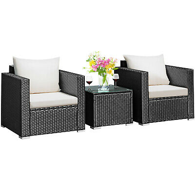 Garden Furniture - 3PCS Patio wicker Furniture Set Conversation Rattan Sofa Set w/Cushion Garden