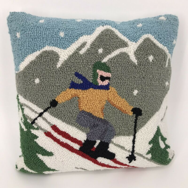 """Skiing Skier Winter Mountains Punch Needle Pillow 15"""" x 15"""" Needlework Stitched"""
