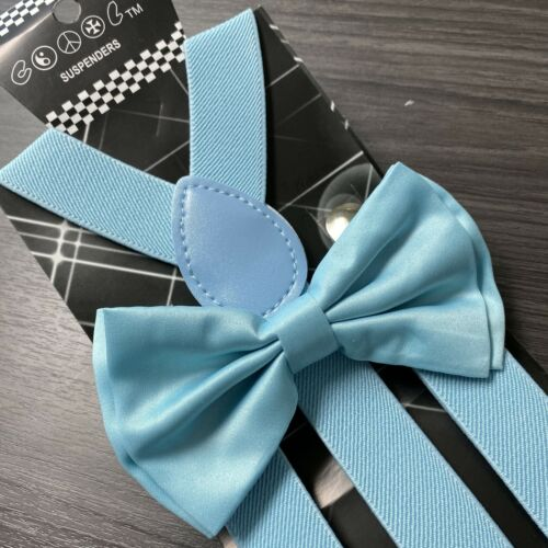 Light Blue Suspender + Clip On Bow-tie Matching Set For Adults Men Women