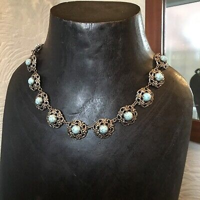 1930s Art Deco Style Jewelry Pretty Vintage Ornate Silver tone and Faux Turquoise Necklace-1930s #5403 $34.54 AT vintagedancer.com