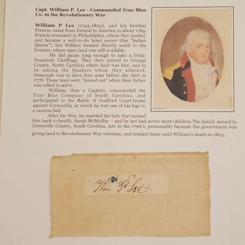 Signed Revolutionary War WIA Capt Battle Guilford Court-house SC vs Cornwallis