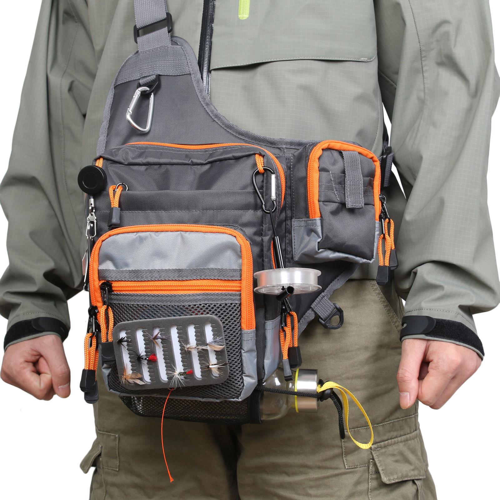 Waterproof Fly Fishing Bag Multi Function Waist Bag Pack Sling Shoulder Bag SA