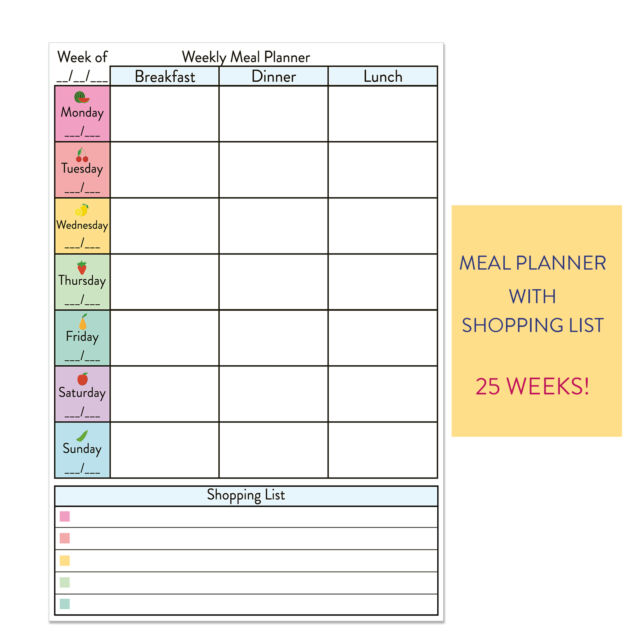 Meal planner family plan easy notebook book full colour Where can i buy slimming world products