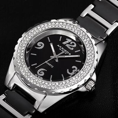 Women's Akribos XXIV AK514BK Quartz Crystal Bezel Black Ceramic Bracelet Watch
