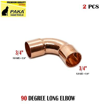 2 Pcs 34 Cxc Wrot Copper 90 Long Turn Elbow For 78o.d. Pipe
