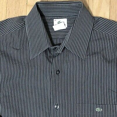 Lacoste mens shirt 42 Gray Black Striped Long Sleeve Button Down
