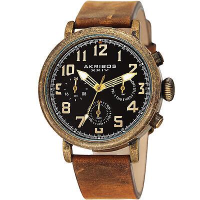 Men's Akribos XXIV AK1028YGBR Quartz Chronograph Black Brown Leather Strap Watch