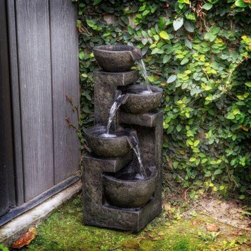 Outdoor Water Fountain 3 Tier Cascading Stone Bowl  Garden Backyard Indoor  New