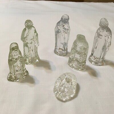 Glass Nativity Set (6 Pc Mini Glass Nativity Set ~ Jesus, Joseph, Mary, and 3 Magi ~)
