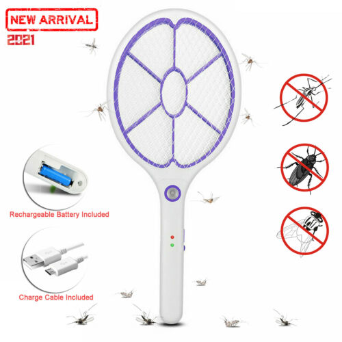 Electronic Rechargeable Fly Swatter Mosquito Racket Bug Zapper Mosquito Killer
