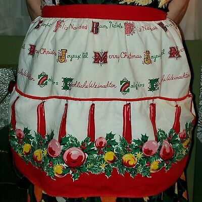 Vintage Christmas Apron Merry Christmas in Different Foreign Languages Feliz Nav ()