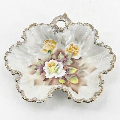 Vintage-Soap Dish-Candy Dish-Yellow-White-Purple-Flowers-Gold-Bavaria-Home Decor