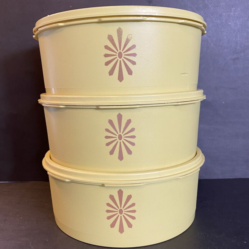 VTG Lot 3 Tupperware Round Servalier Storage Canisters Yellow #1204 w Lids 8 Cup