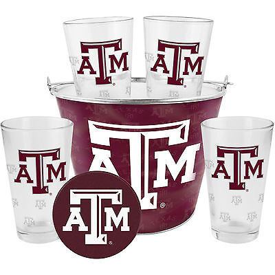 NCAA Texas A&M Aggies Satin Etch Bucket and 4 Glass Gift Set    Please -