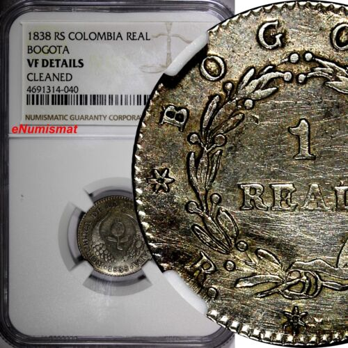 COLOMBIA BOGOTA Nueva Granada Silver 1838 RS 1 Real NGC VF DETAILS RARE KM# 91.1