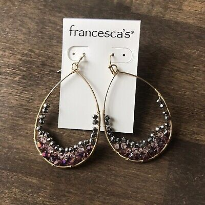 Francescas Boutique Gold Mauve Glass Beaded Oval Earrings NEW
