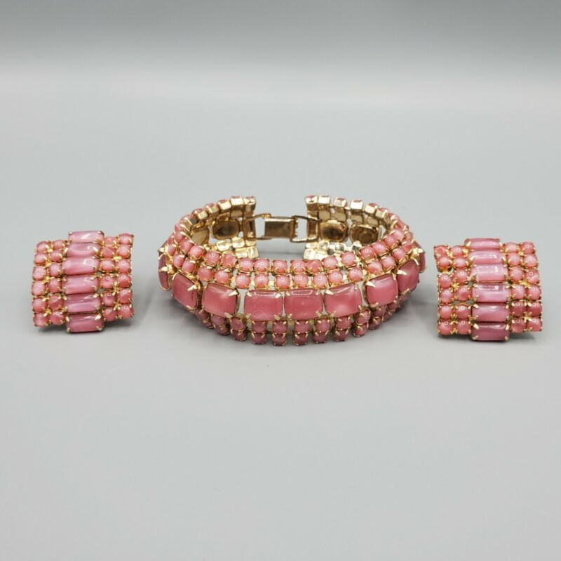 1950s Unsigned Pink Moonstone Cabochon Bracelet & Clip Earrings