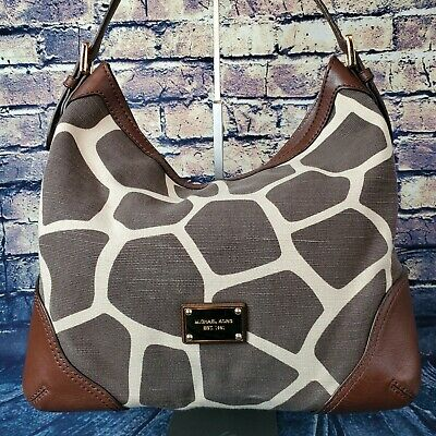 Michael Kors Giraffe Print Brown Beige Canvas Leather Hobo Style Shoulder Bag Giraffe Print Fashion