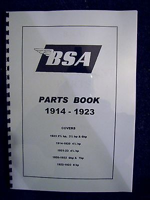 BSA Parts Book for all models from 1914 to 1923 PWPB01