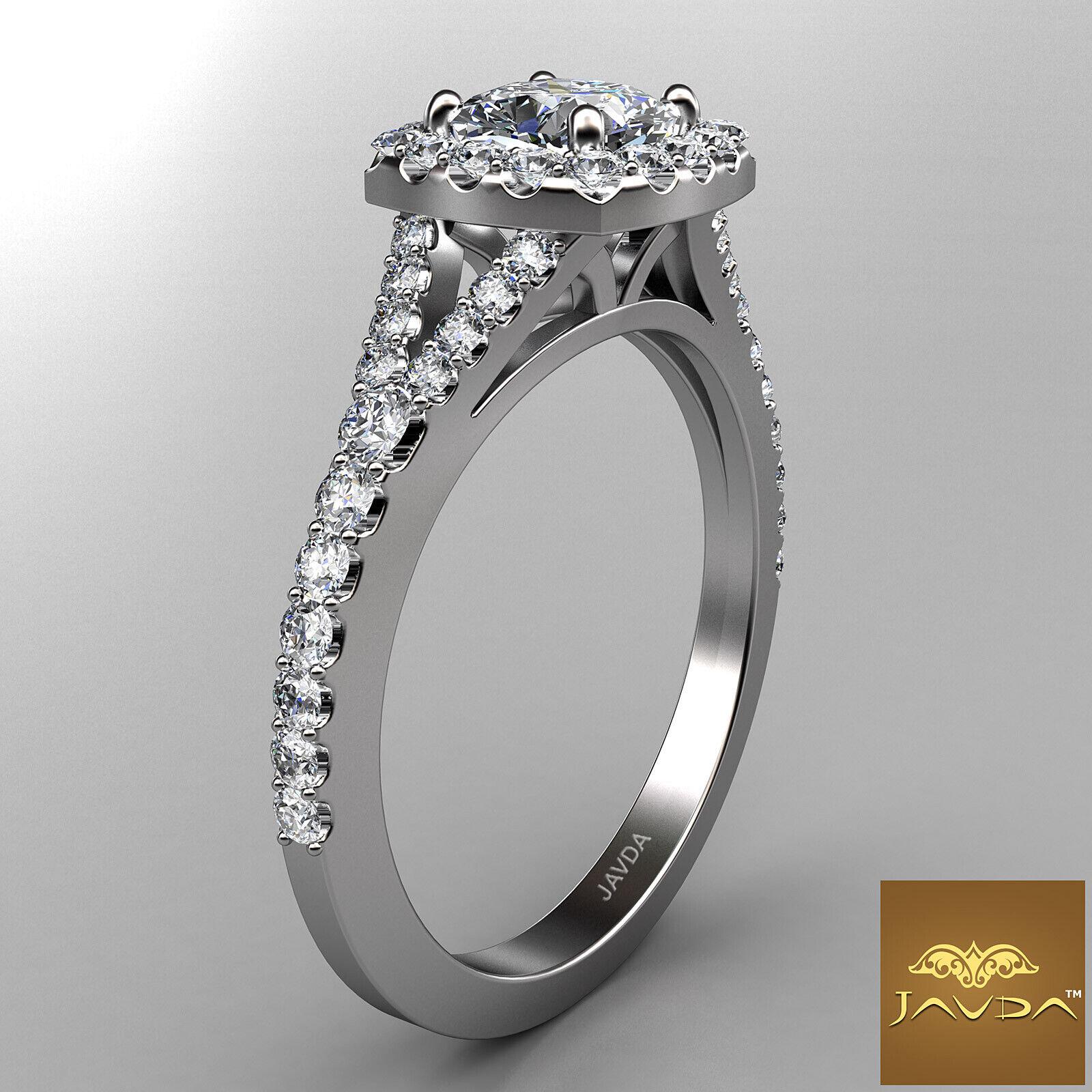 Cushion Shape Diamond Engagement GIA G VVS2 Halo Pre-Set Ring 18k White Gold 1Ct 2