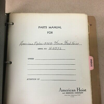 American 850b Crane Parts Manual Book Catalog Crawler Guide List 2drum Fb Hoist