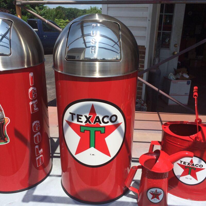 "Texaco Star Trash Can SS Top Very Nice 29"" Tall 12 Gal."