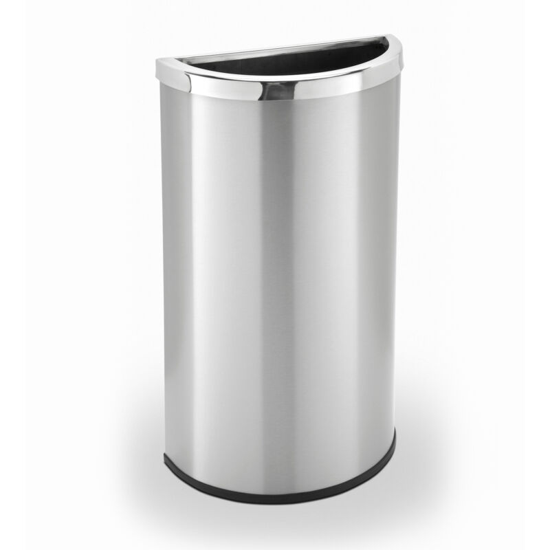 Commercial Zone 780929 8 Gallon Half Moon Trash Can Waste Bin Container, Silver