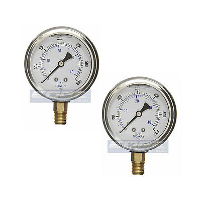 2 Pack Liquid Filled Pressure Gauge 0-600 Psi 2.5 Face 14 Npt Lower Mount