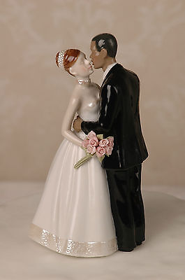 Interracial Wedding Cake Topper African American Groom White Brunette Hair Bride - Brunette Bride Cake Topper
