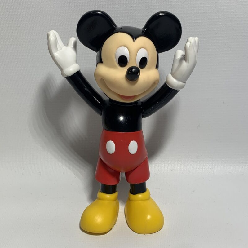 """Vintage Disney Mickey Mouse Vinyl 6 1/2"""" Articulated Toy Action Figure"""