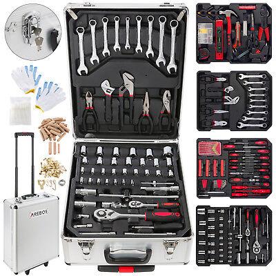 Arebos© 1005-tlg Alu Werkzeugkoffer Werkzeugset Werkzeugkiste Werkzeugbox Trolly