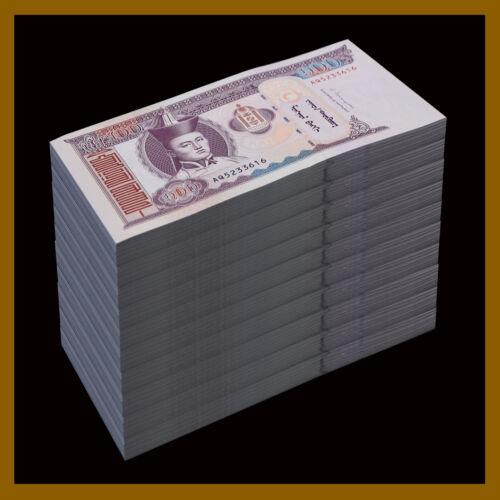 Mongolia 100 Tugrik x 1,000 Pcs Bundle (Brick), 2014 P-65 Horse Unc