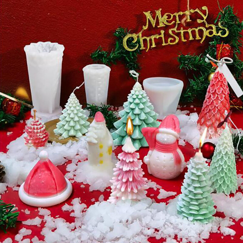 Chirstmax Tree 3D Silicone Candle Molds Santa Claus Soap Candle Making Mould