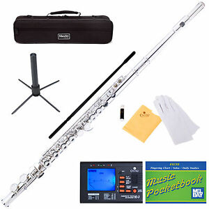 NEW-NICKEL-SILVER-SCHOOL-BAND-STUDENT-C-FLUTE-w-Split-E
