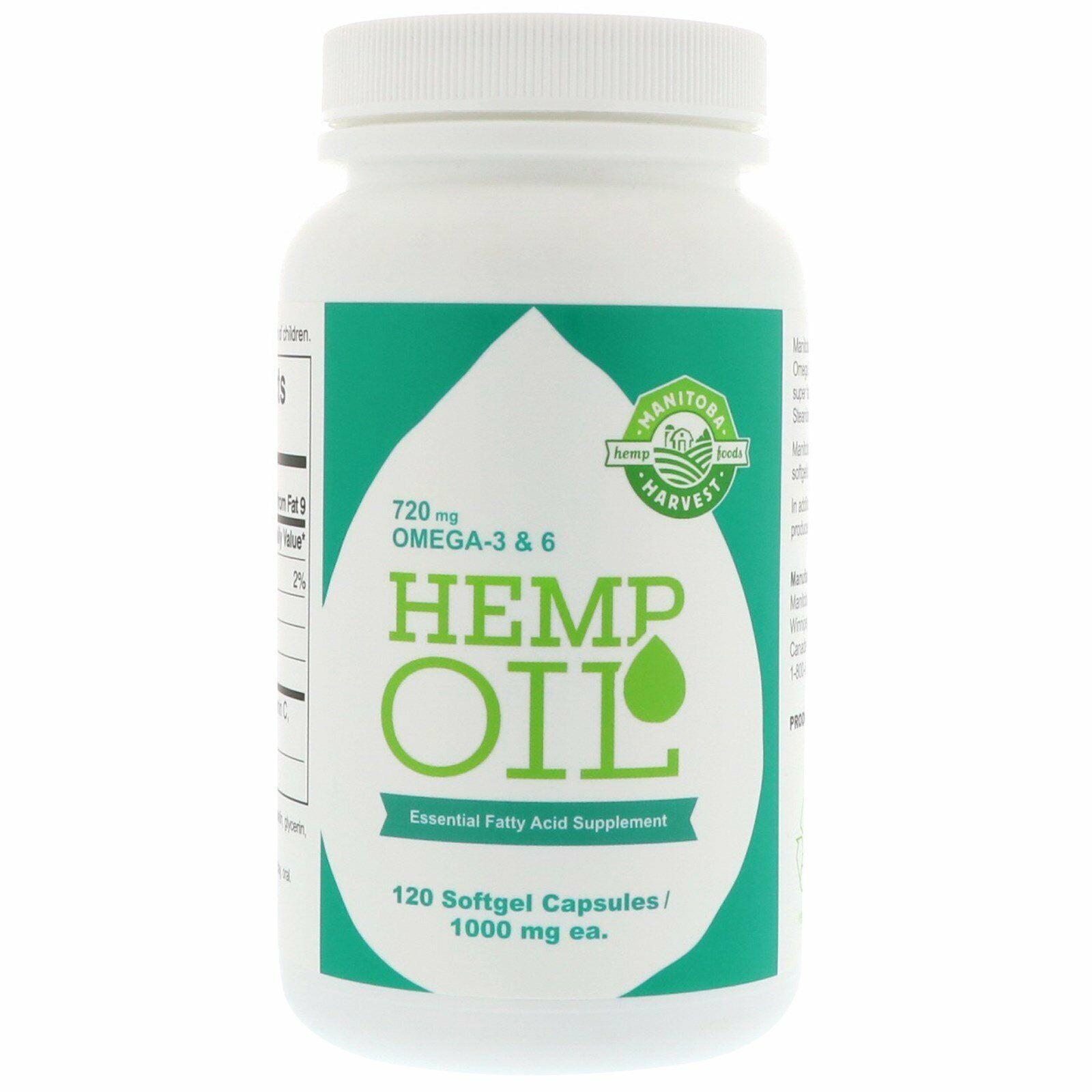2 Pack's Manitoba Harvest Hemp Oil, 120 Softgel Capsules  720 mg Omega-3 & 6 1