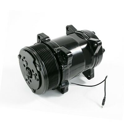Sanden 508 Style AC Air Conditioning Compressor Serpentine All Black