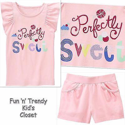 NWT Gymboree MIX N MATCH Girls Size Medium 7-8 Pink Shorts & Tee Shirt 2-PC SET