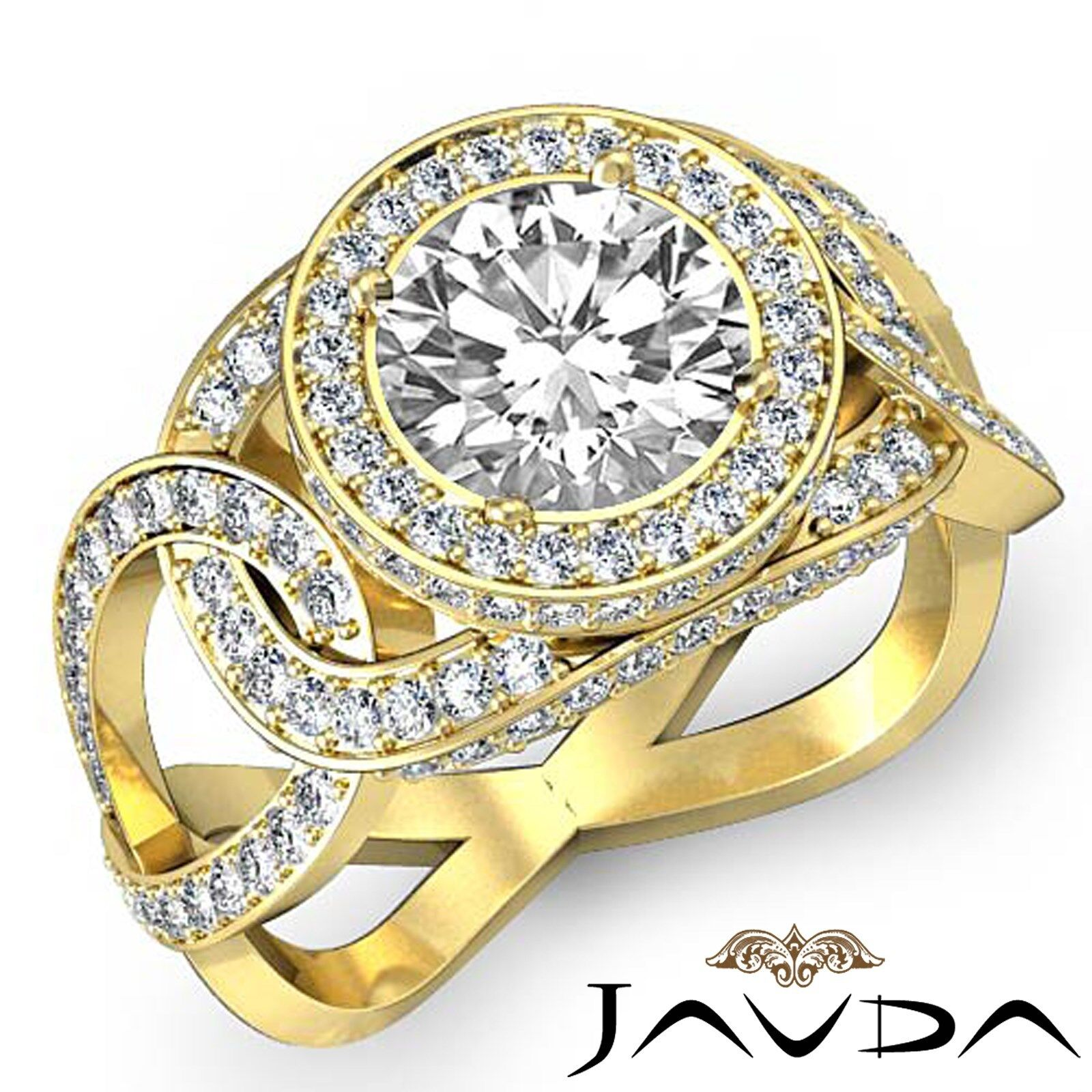 Twisted Halo Round Shape Diamond Engagement Pave Set Ring GIA F Color VS1 2.8Ct