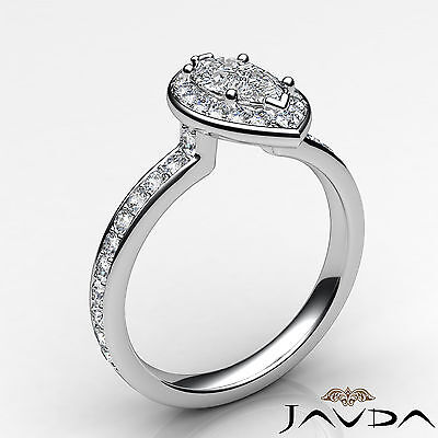 Halo Micro Pave Marquise Cut Diamond Engagement Cathedral Ring GIA F VS1 1.17Ct 1