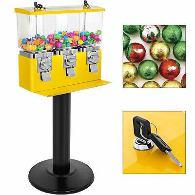 Triple Bulk Candy Vending Machine 3 Head Dispenser Metal Trivend