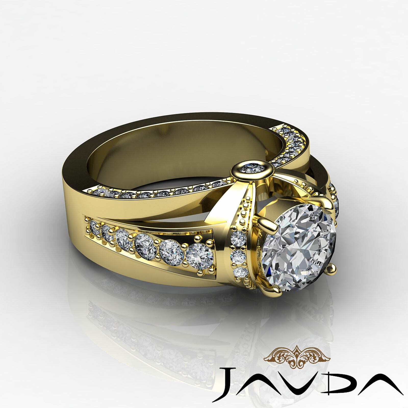 1.7ct Knot Classic Sidestone Round Diamond Engagement Ring GIA H-VVS2 White Gold 9