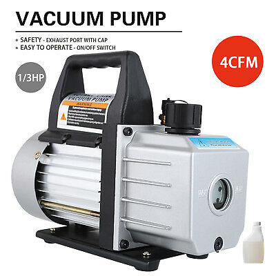 1/3HP Deep Vacuum Pump 110V 4 CFM HVAC AC Refrigerant Charge Black