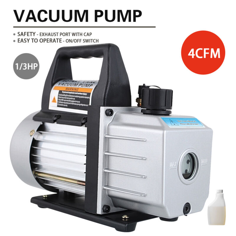 4 CFM HVAC AC Rotary Vane 1/3HP Deep Vacuum Pump Refrigerant Charge Black 110V