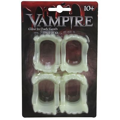 10 x Halloween Glow In The Dark Vampire Teeth Fancy Dress Trick Treat Party ()