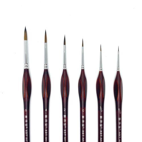 XDT#729 Miniature Micro Fine Detail Liner Artist Paint Brush 6Pc Art Nail Model