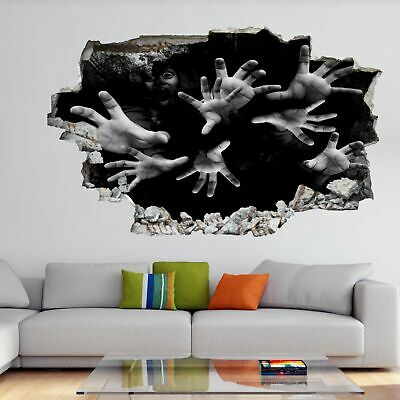 Scary Hands Halloween 3D Wall Art Sticker Mural Decal Horror Background GH6 - 3d Halloween Backgrounds