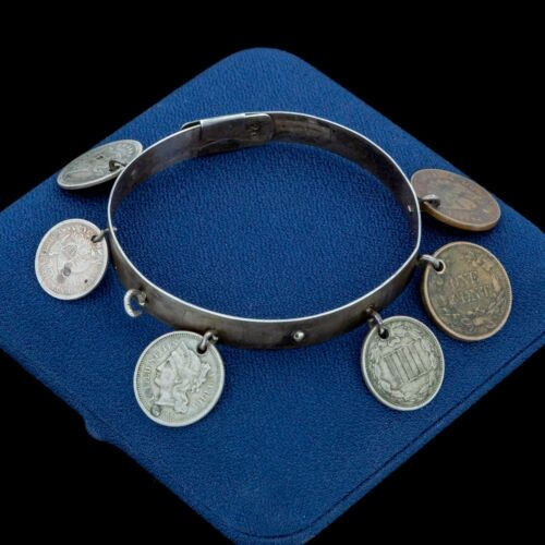 Antique Vintage Nouveau 925 Sterling Silver American Coin Charm Bangle Bracelet