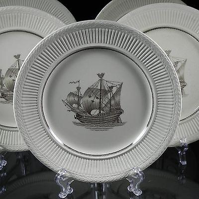 "5 Vintage Rorstrand 8"" Salad Plates Diana Pattern 11042 Porcelain Ship 30's-50'"