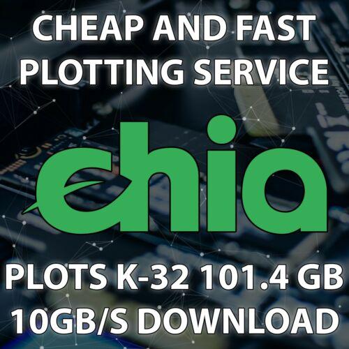 Pack (20 Plots) Chia Plotting Service (10Gbps) K-32 101.4Gb - Servers USA and EU