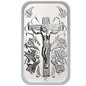 Jesus Cross 1oz 999 Fine Silver Bar By Silvertowne